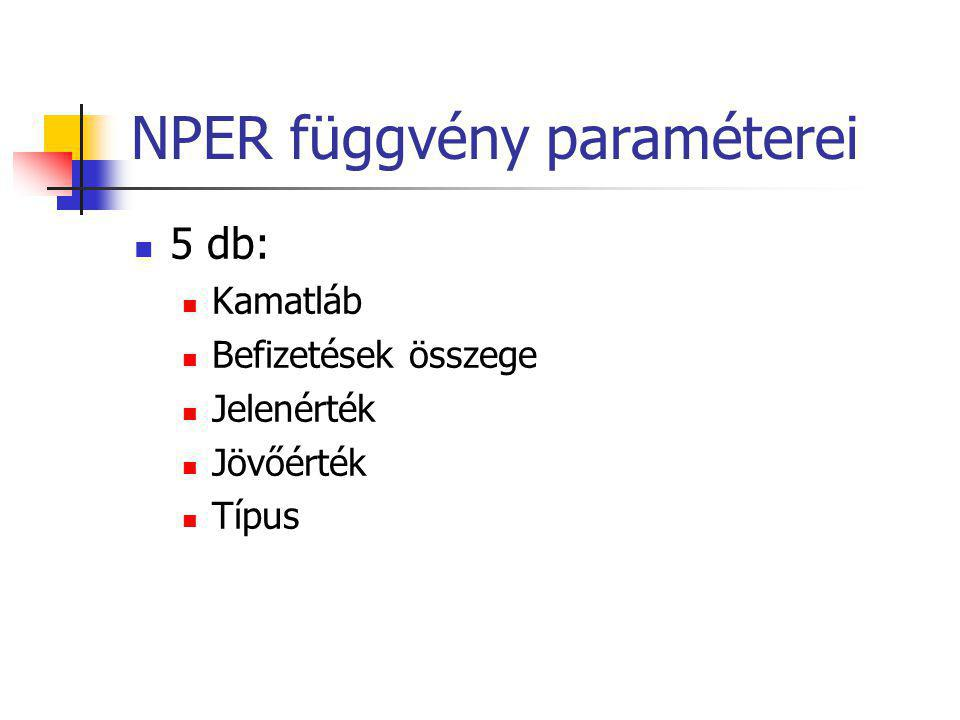 NPER függvény paraméterei  5 db:  Kamatláb  Befizetések összege  Jelenérték  Jövőérték  Típus