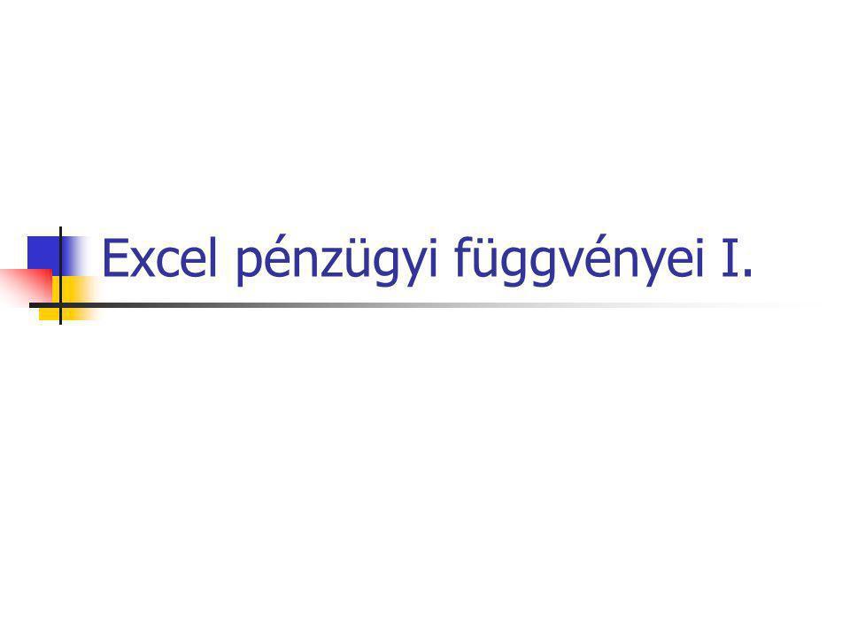 Excel pénzügyi függvényei I.