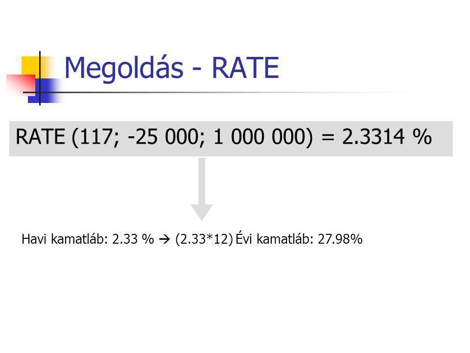 Megoldás - RATE RATE (117; -25 000; 1 000 000) = 2.3314 % Havi kamatláb: 2.33 %  (2.33*12) Évi kamatláb: 27.98%
