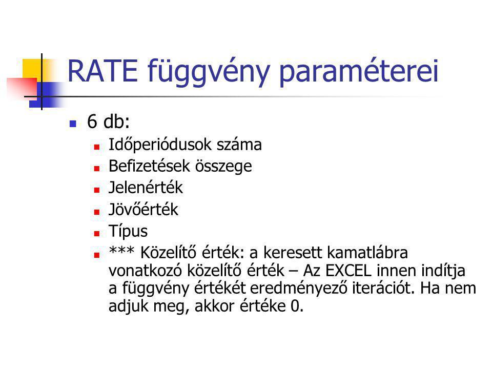 RATE függvény paraméterei  6 db:  Időperiódusok száma  Befizetések összege  Jelenérték  Jövőérték  Típus  *** Közelítő érték: a keresett kamatl