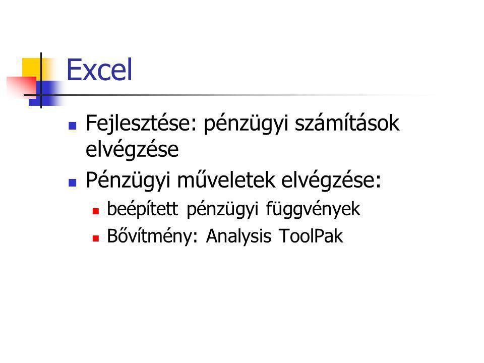 Excel  Fejlesztése: pénzügyi számítások elvégzése  Pénzügyi műveletek elvégzése:  beépített pénzügyi függvények  Bővítmény: Analysis ToolPak