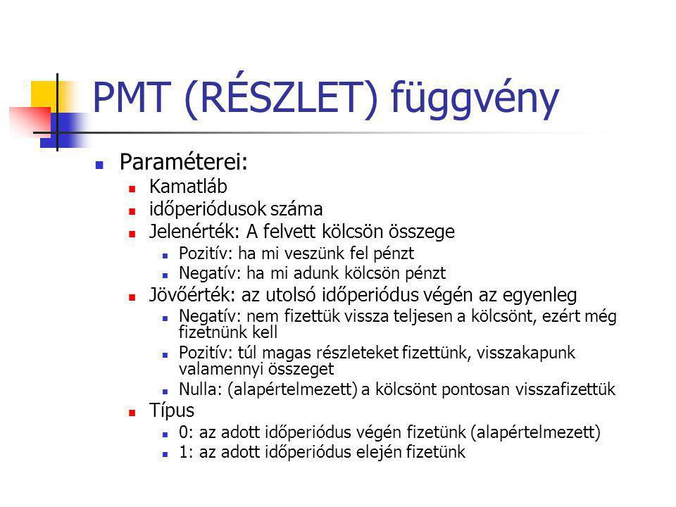 PMT (RÉSZLET) függvény  Paraméterei:  Kamatláb  időperiódusok száma  Jelenérték: A felvett kölcsön összege  Pozitív: ha mi veszünk fel pénzt  Ne
