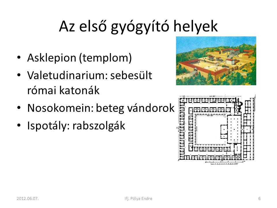 """Első """"kórházak • Templomok, kolostorok • Bizánc • Első igazi: XIX."""