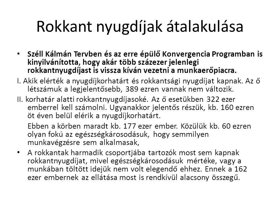 Rokkant nyugdíjak átalakulása • Széll Kálmán Tervben és az erre épülő Konvergencia Programban is kinyilvánította, hogy akár több százezer jelenlegi rokkantnyugdíjast is vissza kíván vezetni a munkaerőpiacra.