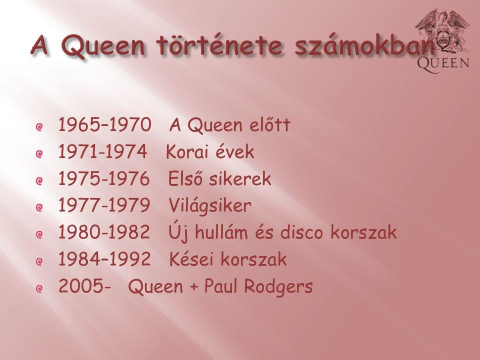 1965–1970 A Queen előtt 1971-1974 Korai évek 1975-1976 Első sikerek 1977-1979 Világsiker 1980-1982 Új hullám és disco korszak 1984–1992 Kései korszak 2005- Queen + Paul Rodgers