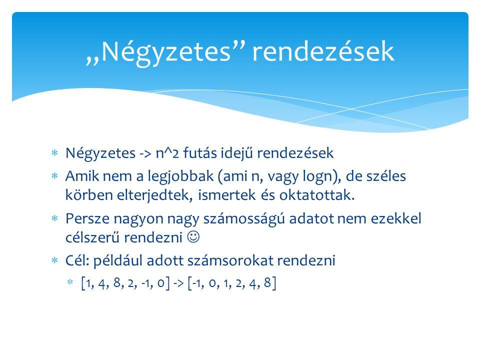  Négyzetes -> n^2 futás idejű rendezések  Amik nem a legjobbak (ami n, vagy logn), de széles körben elterjedtek, ismertek és oktatottak.  Persze na