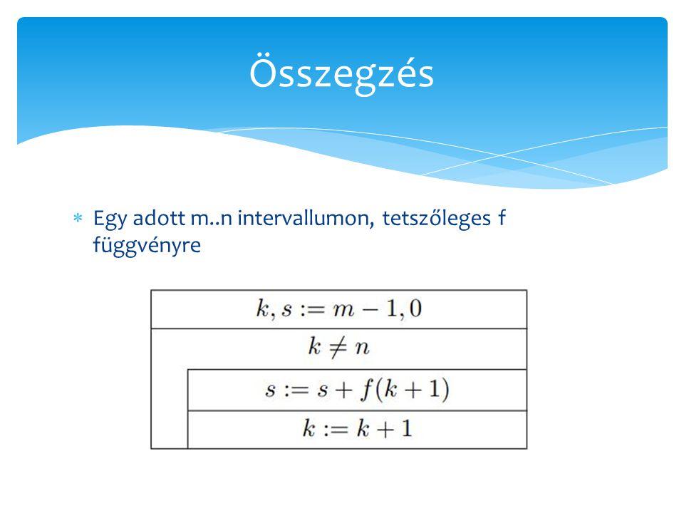  Egy adott m..n intervallumon, tetszőleges f függvényre Összegzés