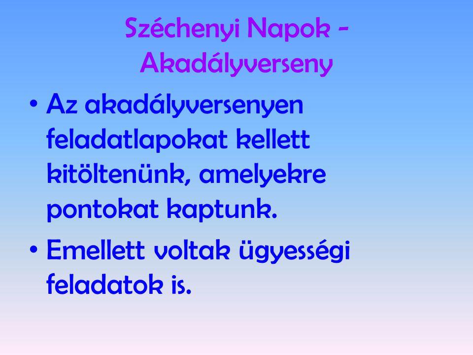 Széchenyi Napok - Akadályverseny • Az akadályversenyen feladatlapokat kellett kitöltenünk, amelyekre pontokat kaptunk. • Emellett voltak ügyességi fel