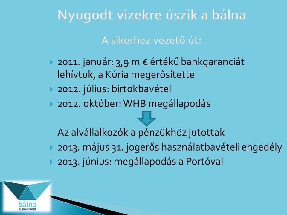  2011.január: 3,9 m € értékű bankgaranciát lehívtuk, a Kúria megerősítette  2012.