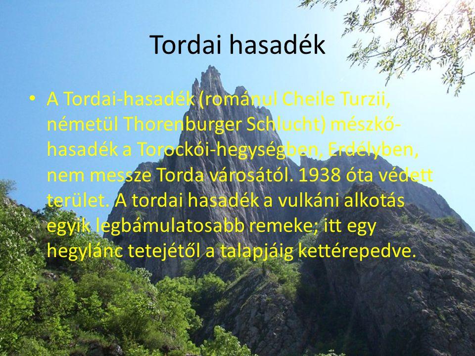 Tordai hasadék • A Tordai-hasadék (románul Cheile Turzii, németül Thorenburger Schlucht) mészkő- hasadék a Torockói-hegységben, Erdélyben, nem messze