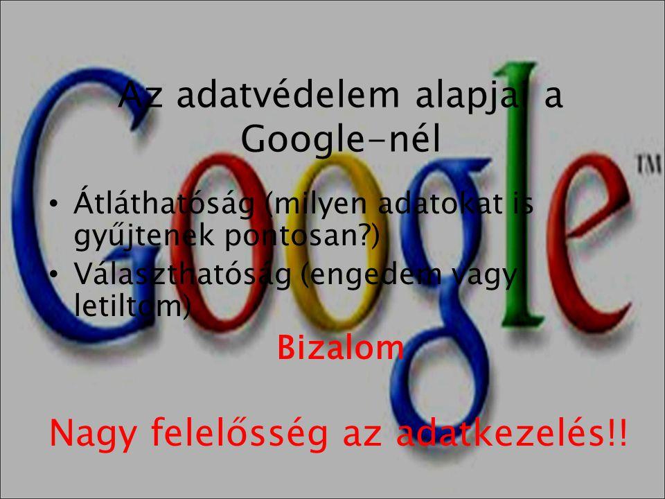 Az adatvédelem alapjai a Google-nél • Átláthatóság (milyen adatokat is gyűjtenek pontosan?) • Választhatóság (engedem vagy letiltom) Bizalom Nagy fele