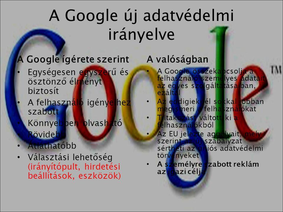 A Google új adatvédelmi irányelve A Google ígérete szerint • Egységesen egyszerű és ösztönző élményt biztosít • A felhasználó igényeihez szabott • Kön