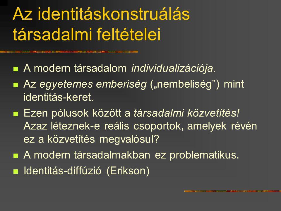 Identitáskonstruálás  Az egyén elhelyezi önmagát az emberi szerveződésekben, s ekkor legalább a következő két állásfoglalást teszi meg: 1. Az egyén v