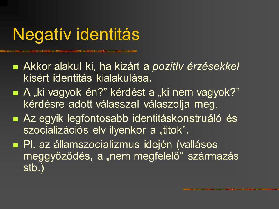 Nemzeti és/vagy etnikai identitás  A magyar nemzethez való tartozás kategoriális rendje(i).  Eltérő jelentéseket tartalmaz: születés / önbesorolás ú