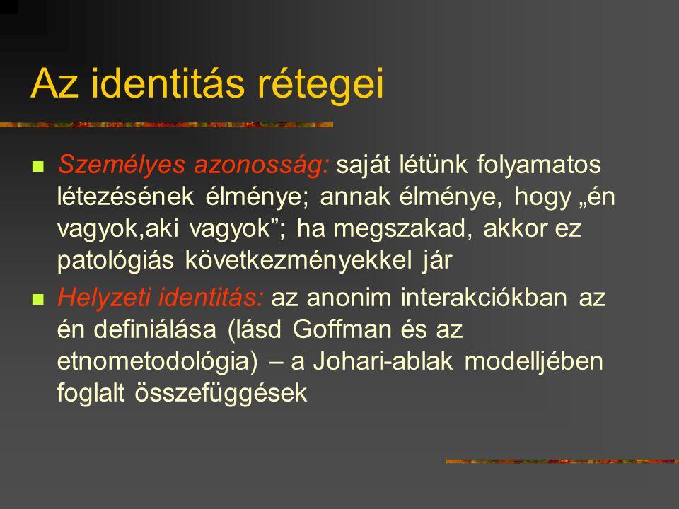"""Mi az identitás?  Komplex válasz arra az egyszerű kérdésre: """"Ki vagyok én?""""  Válaszok: - individuális jellegűek, azaz önjellemzések (pl. """"okos"""", """"sz"""