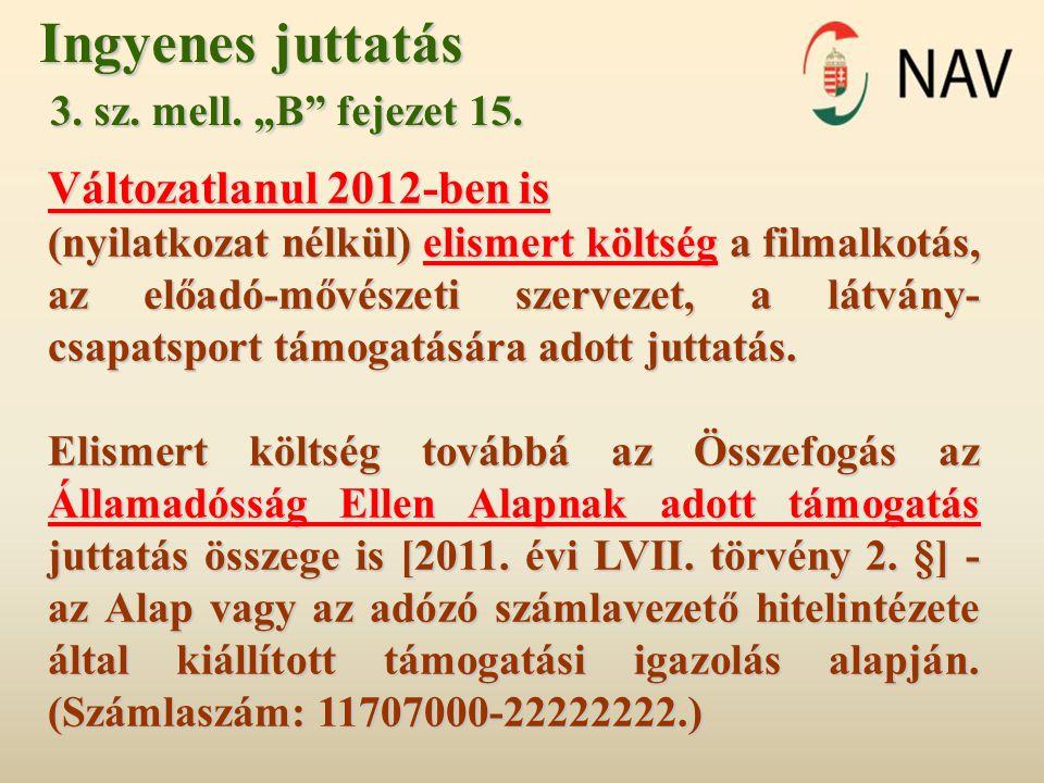 """Ingyenes juttatás 3. sz. mell. """"B"""" fejezet 15. 3. sz. mell. """"B"""" fejezet 15. Változatlanul 2012-ben is (nyilatkozat nélkül) elismert költség a filmalko"""