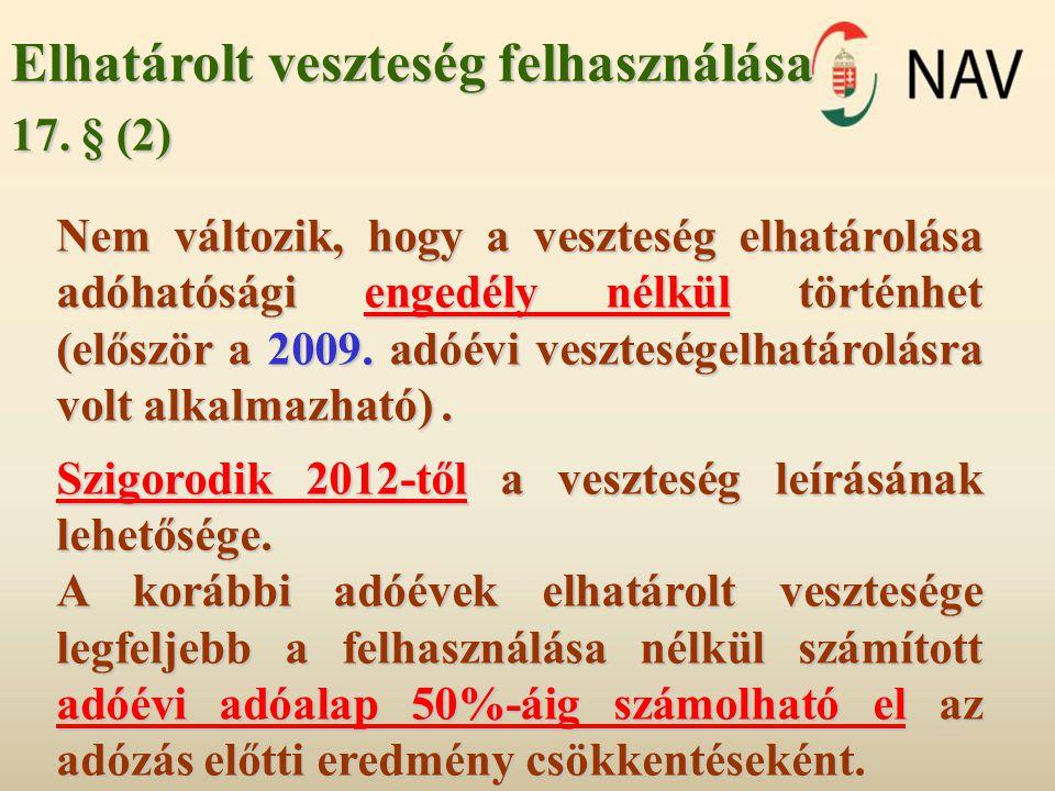 Elhatárolt veszteség felhasználása 17. § (2) Nem változik, hogy a veszteség elhatárolása adóhatósági engedély nélkül történhet (először a 2009. adóévi