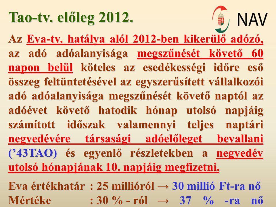 Tao-tv. előleg 2012. Az Eva-tv. hatálya alól 2012-ben kikerülő adózó, az adó adóalanyisága megszűnését követő 60 napon belül köteles az esedékességi i
