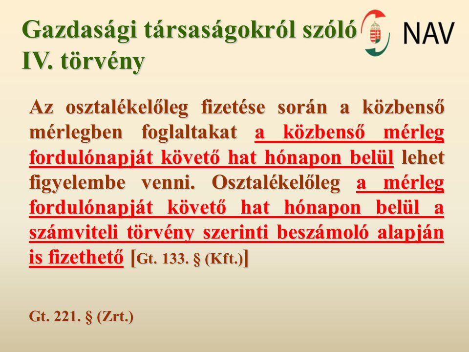 Gazdasági társaságokról szóló IV.