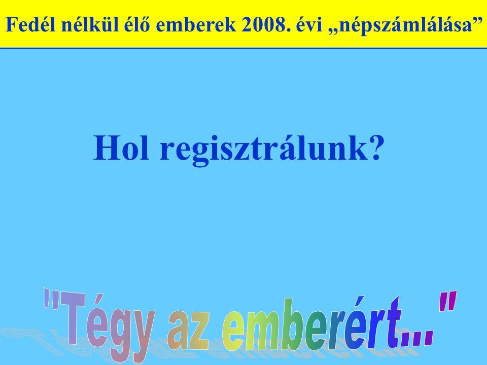 """Hol regisztrálunk Fedél nélkül élő emberek 2008. évi """"népszámlálása"""