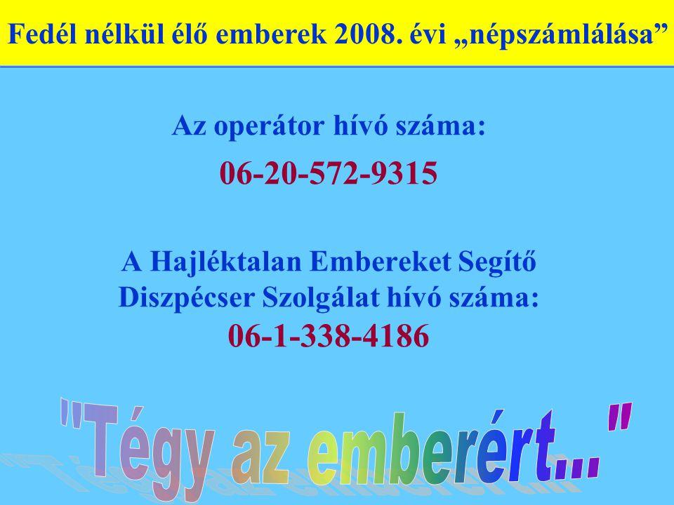 Az operátor hívó száma: 06-20-572-9315 A Hajléktalan Embereket Segítő Diszpécser Szolgálat hívó száma: 06-1-338-4186 Fedél nélkül élő emberek 2008. év