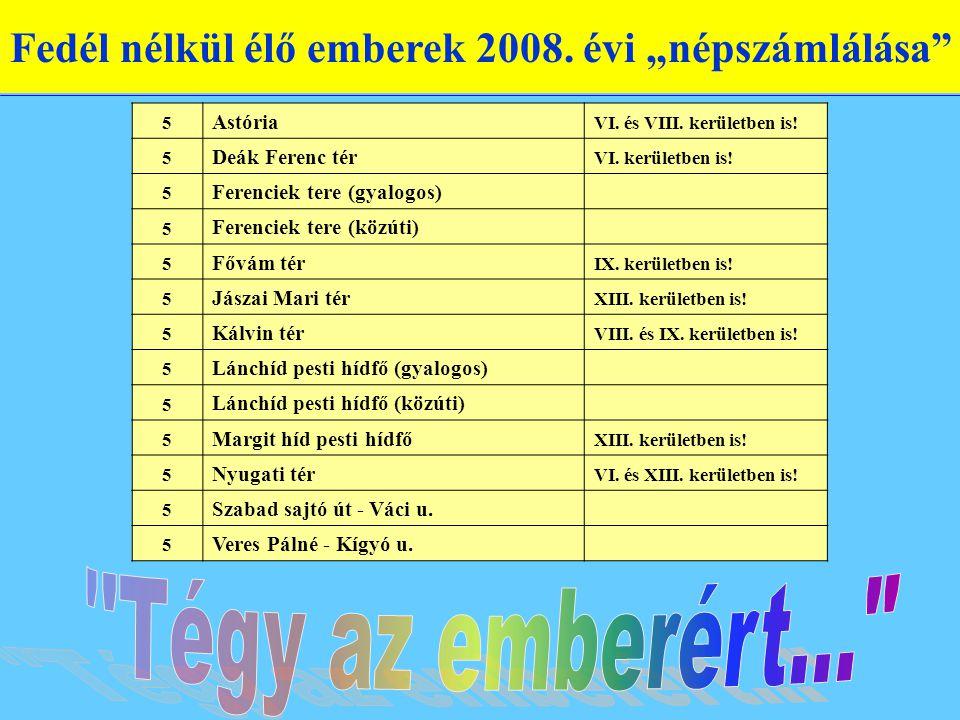 """Fedél nélkül élő emberek 2008. évi """"népszámlálása"""" 5 Astória VI. és VIII. kerületben is! 5 Deák Ferenc tér VI. kerületben is! 5 Ferenciek tere (gyalog"""