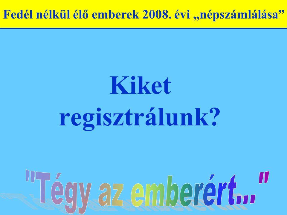 """Kiket regisztrálunk Fedél nélkül élő emberek 2008. évi """"népszámlálása"""