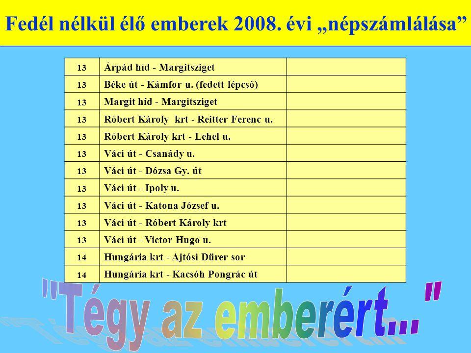 """Fedél nélkül élő emberek 2008. évi """"népszámlálása"""" 13 Árpád híd - Margitsziget 13 Béke út - Kámfor u. (fedett lépcső) 13 Margit híd - Margitsziget 13"""