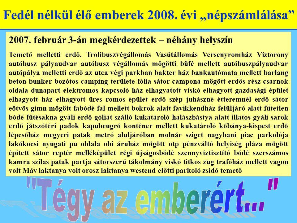 """Fedél nélkül élő emberek 2008. évi """"népszámlálása 2007."""