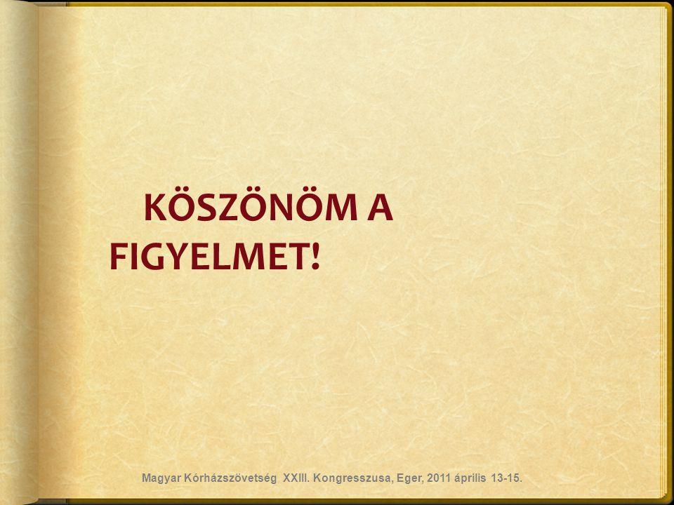 KÖSZÖNÖM A FIGYELMET! Magyar Kórházszövetség XXIII. Kongresszusa, Eger, 2011 április 13-15.