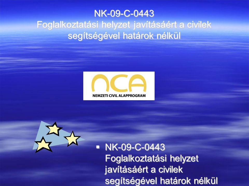 NK-09-C-0443 Foglalkoztatási helyzet javításáért a civilek segítségével határok nélkül  NK-09-C-0443 Foglalkoztatási helyzet javításáért a civilek se