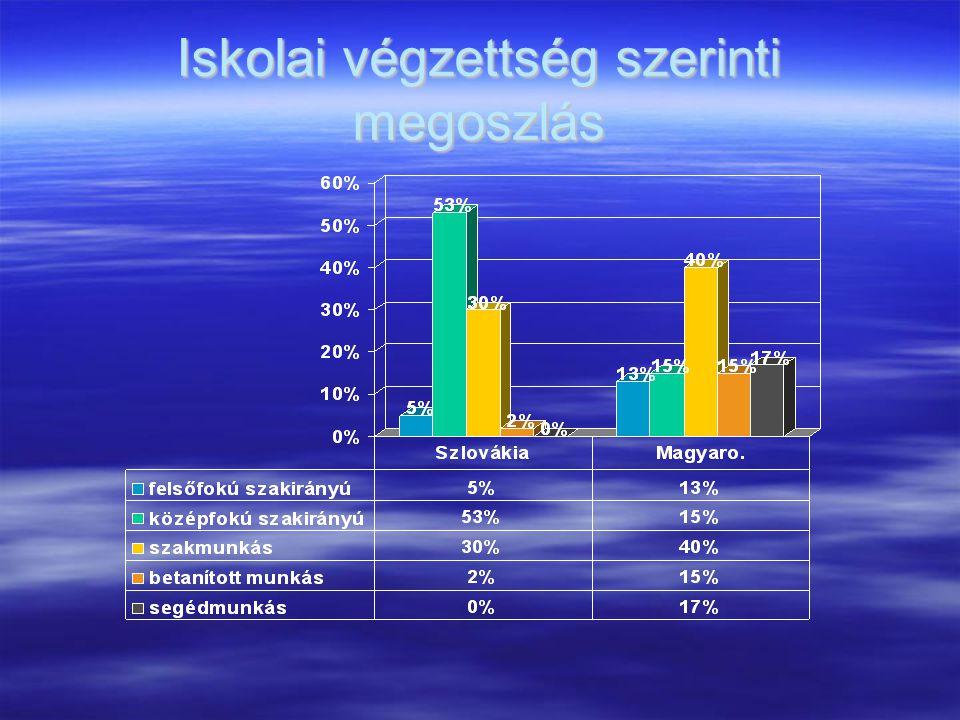 Iskolai végzettség szerinti megoszlás
