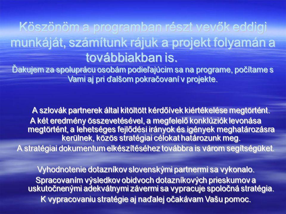 Köszönöm a programban részt vevők eddigi munkáját, számítunk rájuk a projekt folyamán a továbbiakban is. Ďakujem za spoluprácu osobám podieľajúcim sa