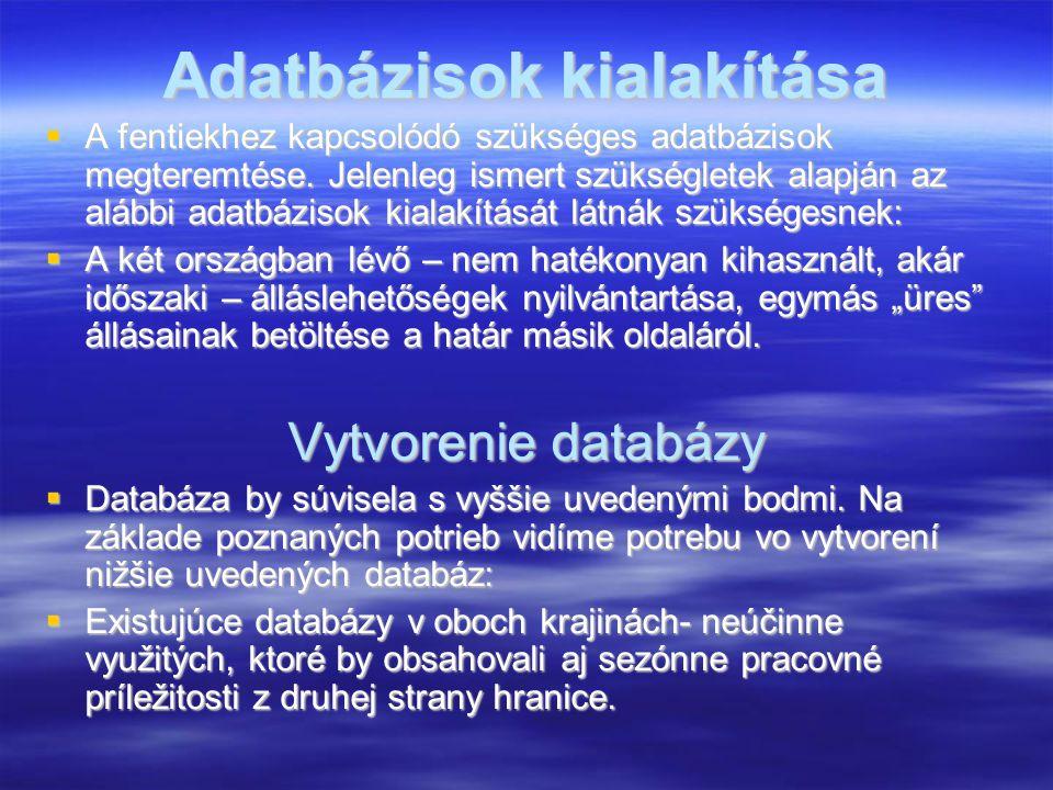 Adatbázisok kialakítása  A fentiekhez kapcsolódó szükséges adatbázisok megteremtése. Jelenleg ismert szükségletek alapján az alábbi adatbázisok kiala