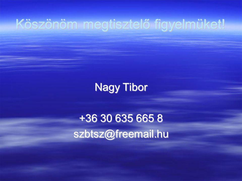 Köszönöm megtisztelő figyelmüket! Nagy Tibor +36 30 635 665 8 szbtsz@freemail.hu