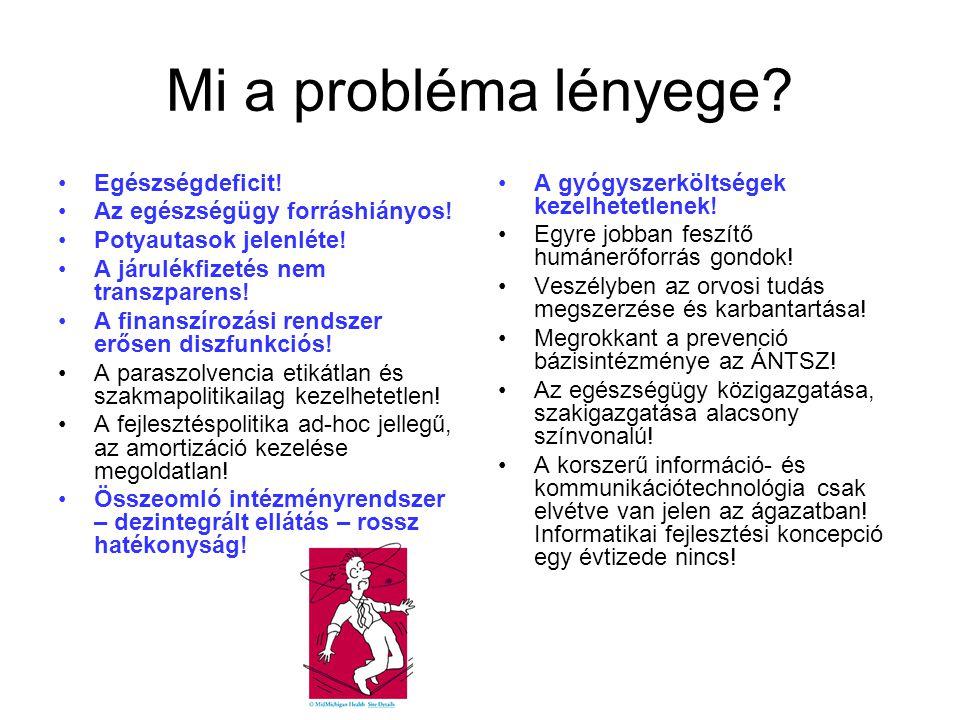 Mi a probléma lényege. •Egészségdeficit. •Az egészségügy forráshiányos.