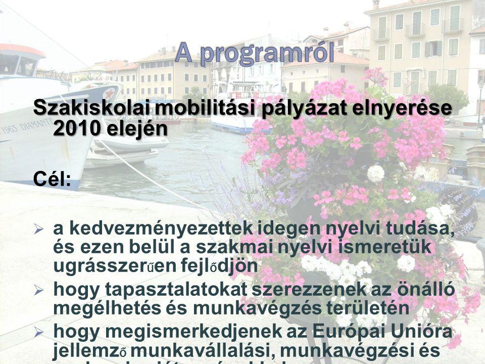 Szakiskolai mobilitási pályázat elnyerése 2010 elején Cél:  a kedvezményezettek idegen nyelvi tudása, és ezen belül a szakmai nyelvi ismeretük ugrásszer ű en fejl ő djön  hogy tapasztalatokat szerezzenek az önálló megélhetés és munkavégzés területén  hogy megismerkedjenek az Európai Unióra jellemz ő munkavállalási, munkavégzési és szakmai sajátosságokkal