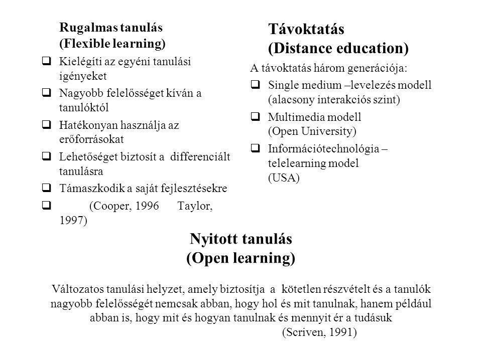Nyitott tanulás (Open learning) Változatos tanulási helyzet, amely biztosítja a kötetlen részvételt és a tanulók nagyobb felelősségét nemcsak abban, hogy hol és mit tanulnak, hanem például abban is, hogy mit és hogyan tanulnak és mennyit ér a tudásuk (Scriven, 1991) Rugalmas tanulás (Flexible learning)  Kielégíti az egyéni tanulási igényeket  Nagyobb felelősséget kíván a tanulóktól  Hatékonyan használja az erőforrásokat  Lehetőséget biztosít a differenciált tanulásra  Támaszkodik a saját fejlesztésekre  (Cooper, 1996 Taylor, 1997) Távoktatás (Distance education) A távoktatás három generációja:  Single medium –levelezés modell (alacsony interakciós szint)  Multimedia modell (Open University)  Információtechnológia – telelearning model (USA)