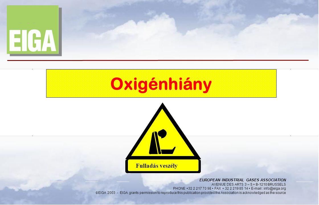 2014. 06. 24. Page 1 EIGA Oxigénhiány Fulladás veszély EUROPEAN INDUSTRIAL GASES ASSOCIATION AVENUE DES ARTS 3 – 5  B-1210 BRUSSELS PHONE +32 2 217 7
