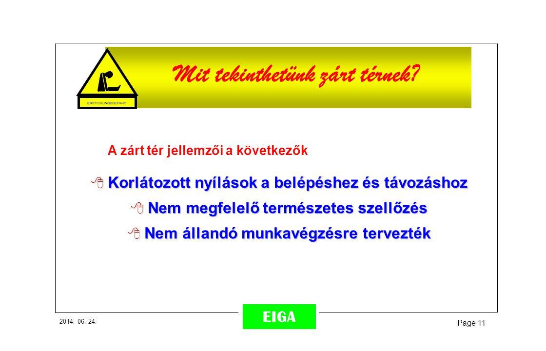 2014. 06. 24. Page 11 EIGA A zárt tér jellemzői a következők  Korlátozott nyílások a belépéshez és távozáshoz  Nem megfelelő természetes szellőzés 
