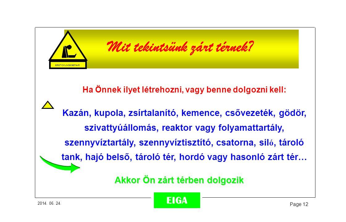 2014. 06. 24. Page 12 EIGA ~ 50% Mit tekintsünk zárt térnek? Ha Önnek ilyet létrehozni, vagy benne dolgozni kell: Kazán, kupola, zsírtalanító, kemence