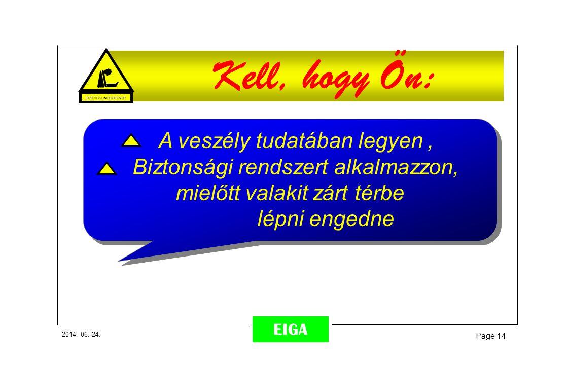 2014. 06. 24. Page 14 EIGA Kell, hogy Ön: A veszély tudatában legyen, Biztonsági rendszert alkalmazzon, mielőtt valakit zárt térbe lépni engedne A ves
