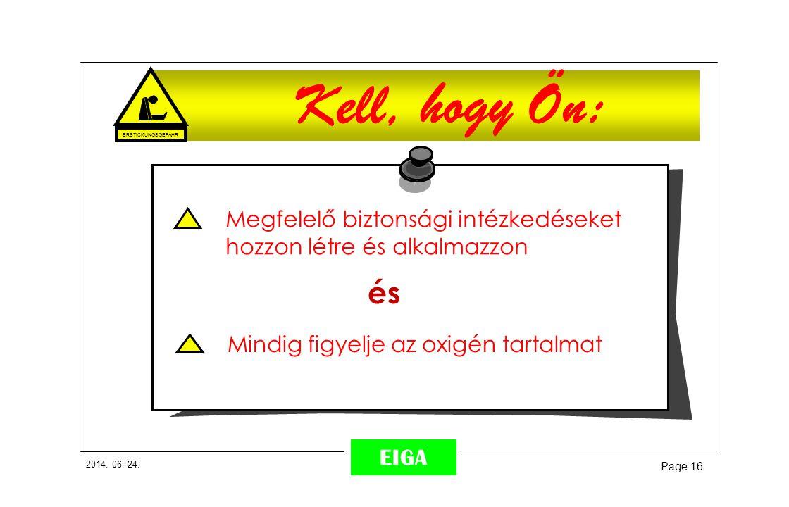 2014. 06. 24. Page 16 EIGA Kell, hogy Ön: ERSTICKUNGSGEFAHR Megfelelő biztonsági intézkedéseket hozzon létre és alkalmazzon Mindig figyelje az oxigén