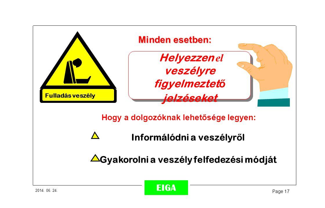 2014. 06. 24. Page 17 EIGA Minden esetben: Informálódni a veszélyr ő l Gyakorolni a veszély felfedezési módját Helyezzen el veszélyre figyelmeztet ő j