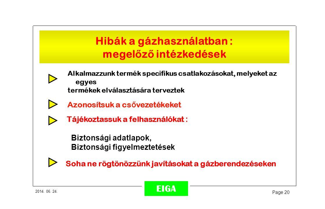 2014. 06. 24. Page 20 EIGA Alkalmazzunk termék specifikus csatlakozásokat, melyeket az egyes termékek elválasztására terveztek Tájékoztassuk a felhasz