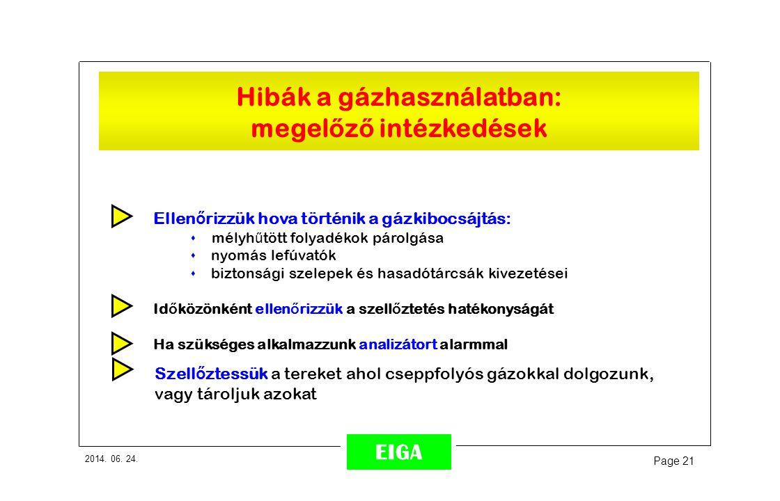 2014. 06. 24. Page 21 EIGA Ellen ő rizzük hova történik a gázkibocsájtás: s mélyh ű tött folyadékok párolgása s nyomás lefúvatók s biztonsági szelepek