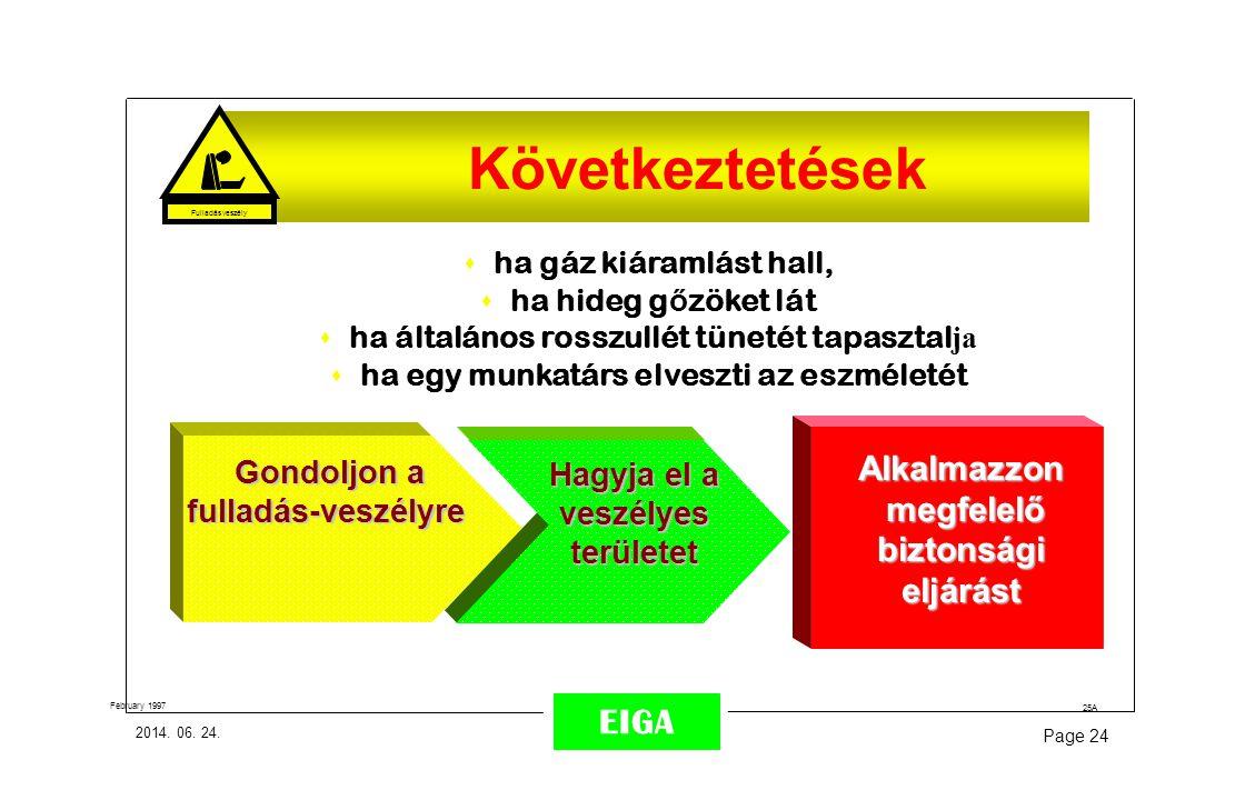 2014. 06. 24. Page 24 EIGA 25A February 1997 CONCLUSION: s ha gáz kiáramlást hall, s ha hideg g ő zöket lát  ha általános rosszullét tünetét tapaszta