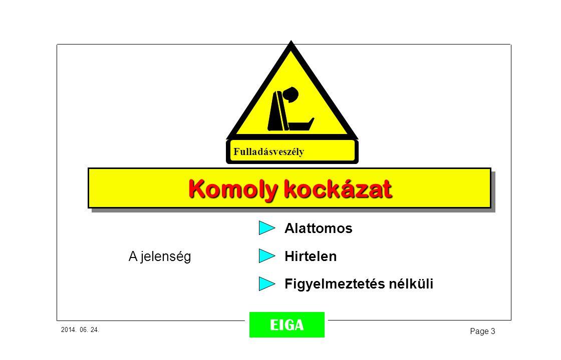 2014. 06. 24. Page 3 EIGA Figyelmeztetés nélküli Komoly kockázat Fulladásveszély A jelenség Alattomos Hirtelen