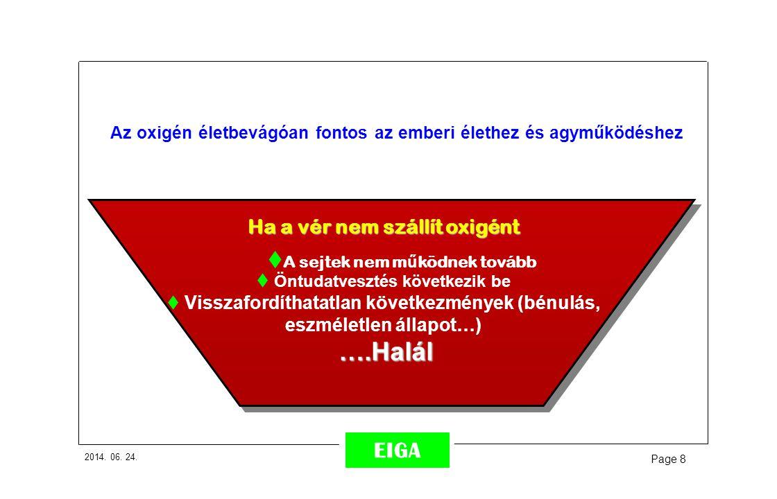 2014. 06. 24. Page 8 EIGA Ha a vér nem szállít oxigént  A sejtek nem m ű ködnek tovább  Öntudatvesztés következik be  Visszafordíthatatlan következ