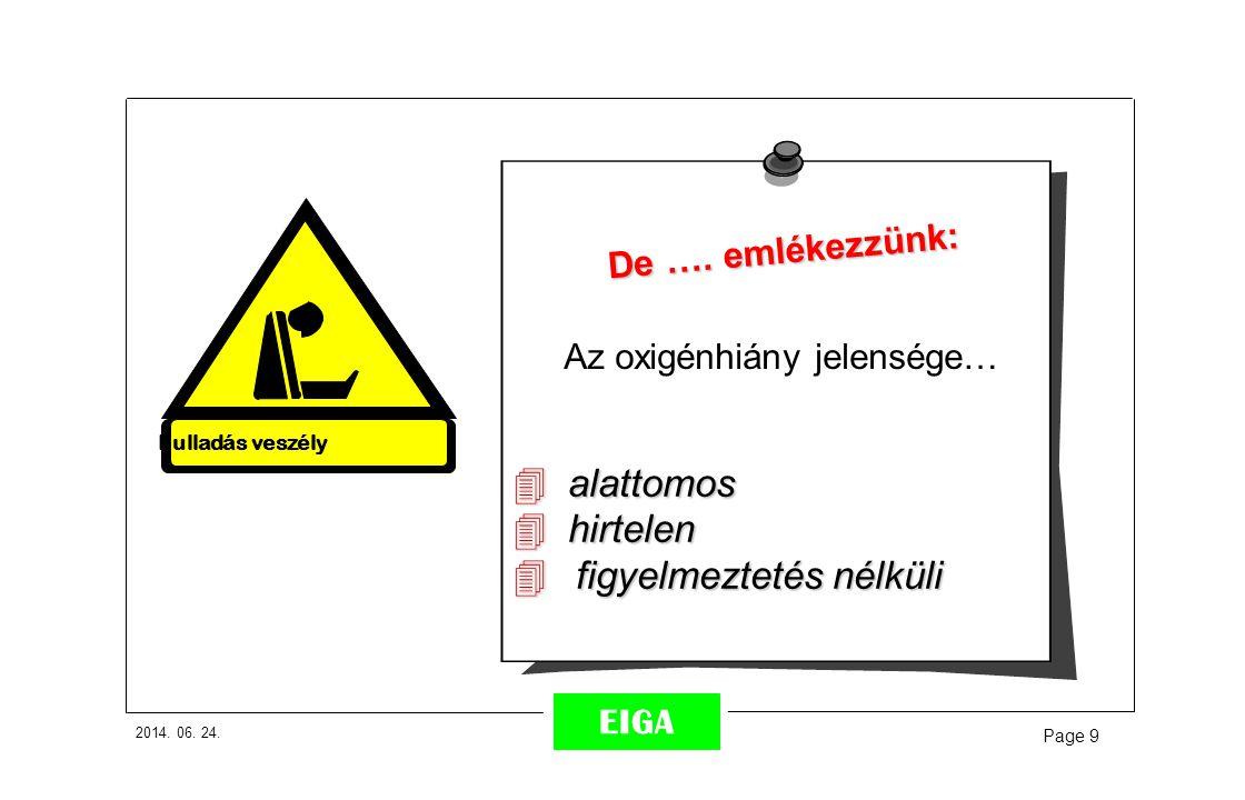 2014. 06. 24. Page 9 EIGA De …. emlékezzünk: Az oxigénhiány jelensége…  alattomos  hirtelen  figyelmeztetés nélküli Fulladás veszély
